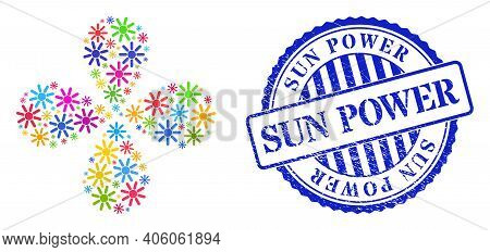 Sun Rays Multi Colored Swirl Flower With Four Petals, And Blue Round Sun Power Grunge Rubber Print.