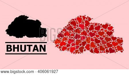 Love Mosaic And Solid Map Of Bhutan On A Pink Background. Mosaic Map Of Bhutan Is Formed With Red Lo