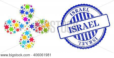 Six Pointed Star Multi Colored Rotation Flower Cluster, And Blue Round Israel Rubber Print. Element