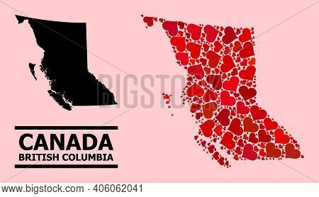 Love Mosaic And Solid Map Of British Columbia Province On A Pink Background. Mosaic Map Of British C