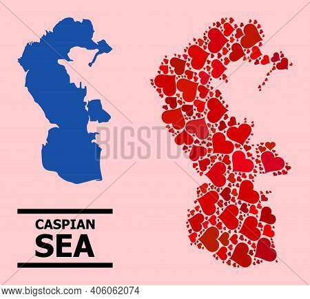 Love Mosaic And Solid Map Of Caspian Sea On A Pink Background. Mosaic Map Of Caspian Sea Is Composed