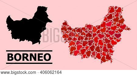 Love Mosaic And Solid Map Of Borneo Island On A Pink Background. Mosaic Map Of Borneo Island Is Comp