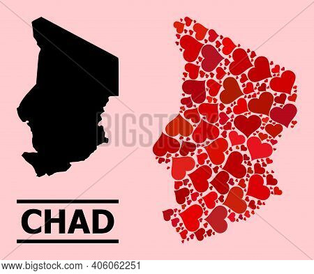 Love Mosaic And Solid Map Of Chad On A Pink Background. Mosaic Map Of Chad Is Designed From Red Love