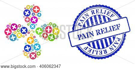 Veterinary Plus Multicolored Swirl Flower With Four Petals, And Blue Round Pain Relief Corroded Stam