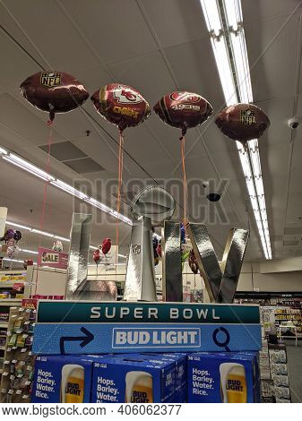 Honolulu - January 28, 2020:  Super Bowl Liv Bud Light Football Display With Balloons Of The Kc Chie