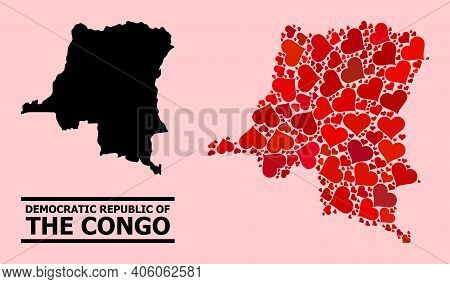 Love Mosaic And Solid Map Of Democratic Republic Of The Congo On A Pink Background. Mosaic Map Of De