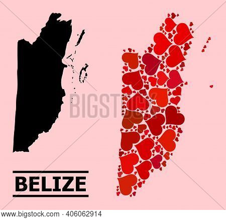 Love Mosaic And Solid Map Of Belize On A Pink Background. Mosaic Map Of Belize Is Designed With Red
