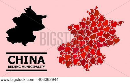 Love Pattern And Solid Map Of Beijing Municipality On A Pink Background. Mosaic Map Of Beijing Munic
