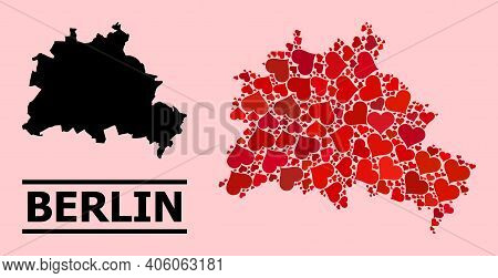 Love Mosaic And Solid Map Of Berlin City On A Pink Background. Mosaic Map Of Berlin City Is Created