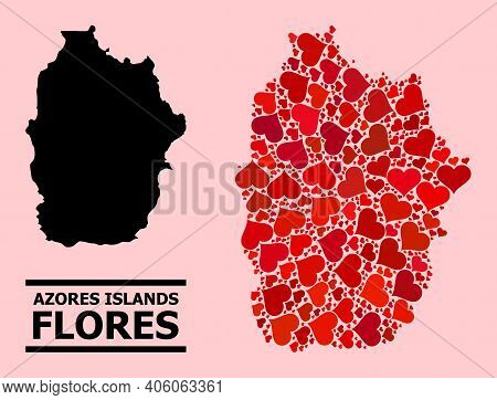 Love Mosaic And Solid Map Of Azores - Flores Island On A Pink Background. Mosaic Map Of Azores - Flo
