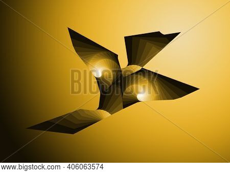 Design Of An Abstract Bird In Yellow Gradient Colors, Background And Texture