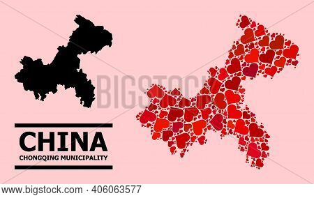 Love Pattern And Solid Map Of Chongqing Municipality On A Pink Background. Collage Map Of Chongqing