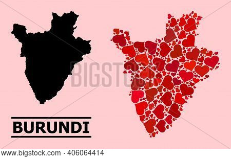 Love Collage And Solid Map Of Burundi On A Pink Background. Collage Map Of Burundi Is Formed With Re