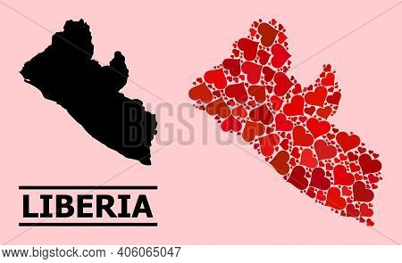 Love Collage And Solid Map Of Liberia On A Pink Background. Collage Map Of Liberia Designed With Red
