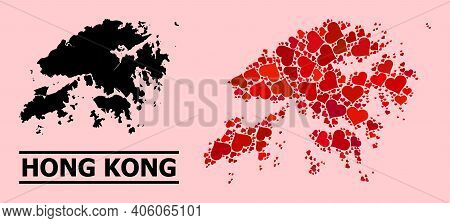 Love Mosaic And Solid Map Of Hong Kong On A Pink Background. Mosaic Map Of Hong Kong Is Composed Wit