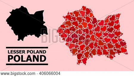 Love Collage And Solid Map Of Lesser Poland Province On A Pink Background. Mosaic Map Of Lesser Pola