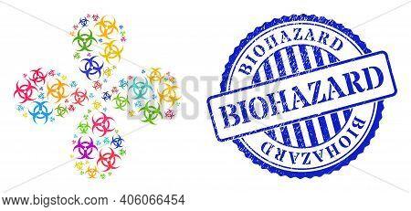 Biohazard Bright Curl Flower Cluster, And Blue Round Biohazard Scratched Rubber Print. Element Flowe