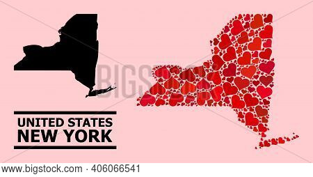 Love Collage And Solid Map Of New York State On A Pink Background. Mosaic Map Of New York State Desi