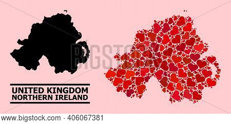 Love Collage And Solid Map Of Northern Ireland On A Pink Background. Collage Map Of Northern Ireland