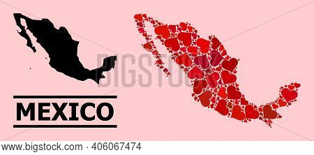 Love Mosaic And Solid Map Of Mexico On A Pink Background. Mosaic Map Of Mexico Formed With Red Love