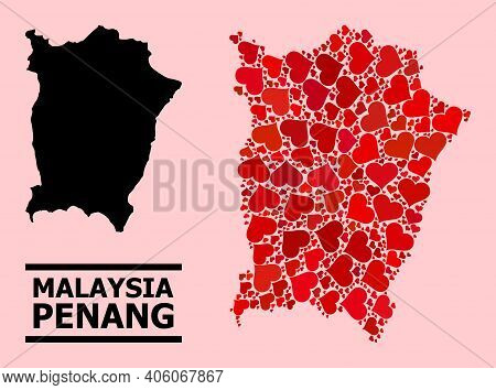 Love Pattern And Solid Map Of Penang Island On A Pink Background. Collage Map Of Penang Island Is Fo
