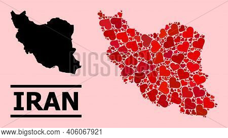 Love Collage And Solid Map Of Iran On A Pink Background. Collage Map Of Iran Is Created With Red Lov