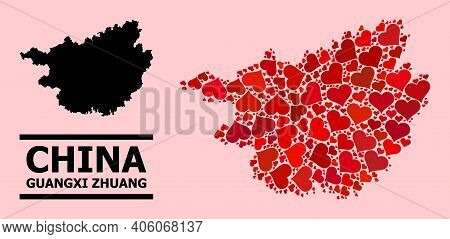 Love Pattern And Solid Map Of Guangxi Zhuang Region On A Pink Background. Mosaic Map Of Guangxi Zhua