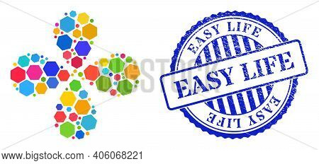 Rounded Hexagon Multi Colored Explosion Abstract Flower, And Blue Round Easy Life Corroded Stamp Imi