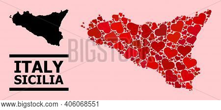 Love Collage And Solid Map Of Sicilia Island On A Pink Background. Collage Map Of Sicilia Island Is