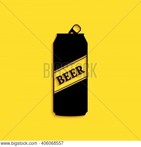 Black Beer Can Icon Isolated On Yellow Background. Long Shadow Style. Vector