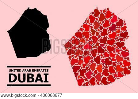 Love Mosaic And Solid Map Of Dubai Emirate On A Pink Background. Mosaic Map Of Dubai Emirate Designe