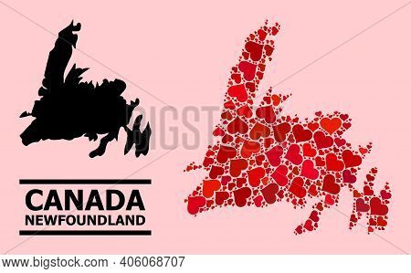 Love Pattern And Solid Map Of Newfoundland Island On A Pink Background. Collage Map Of Newfoundland