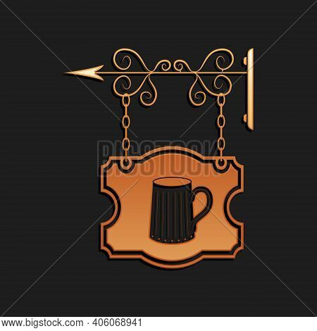 Gold Street Signboard On Forged Brackets With Wooden Mug Of Beer Icon Isolated On Black Background.