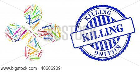 Blood Sword Multicolored Rotation Abstract Flower, And Blue Round Killing Rough Seal. Object Flower