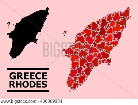 Love Collage And Solid Map Of Rhodes Island On A Pink Background. Collage Map Of Rhodes Island Creat