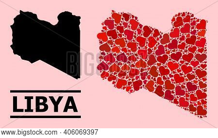 Love Pattern And Solid Map Of Libya On A Pink Background. Collage Map Of Libya Designed With Red Lov