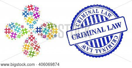 Jail Grid Bright Explosion Flower With Four Petals, And Blue Round Criminal Law Scratched Stamp. Ele