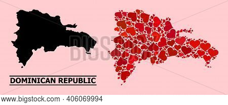 Love Collage And Solid Map Of Dominican Republic On A Pink Background. Collage Map Of Dominican Repu