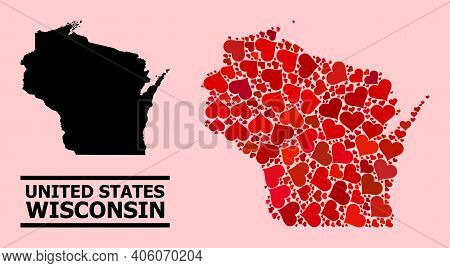 Love Mosaic And Solid Map Of Wisconsin State On A Pink Background. Collage Map Of Wisconsin State Cr