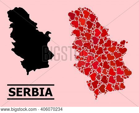 Love Pattern And Solid Map Of Serbia On A Pink Background. Collage Map Of Serbia Created With Red Lo