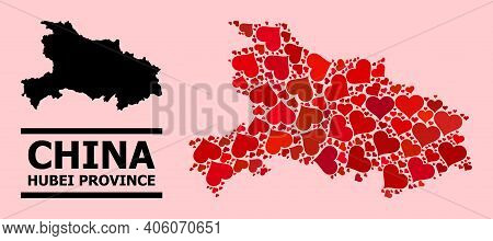 Love Pattern And Solid Map Of Hubei Province On A Pink Background. Mosaic Map Of Hubei Province Is F