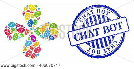 Chat Arguments Multicolored Twirl Flower Cluster, And Blue Round Chat Bot Rubber Watermark. Element