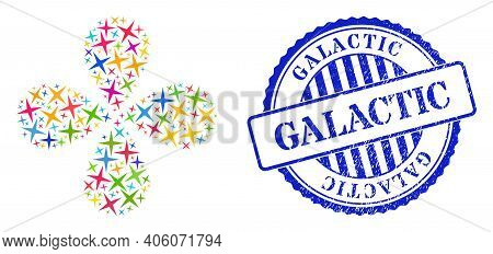 Space Star Colored Explosion Abstract Flower, And Blue Round Galactic Grunge Watermark. Element Cent