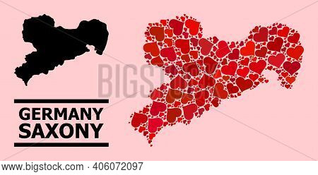 Love Collage And Solid Map Of Saxony State On A Pink Background. Collage Map Of Saxony State Compose