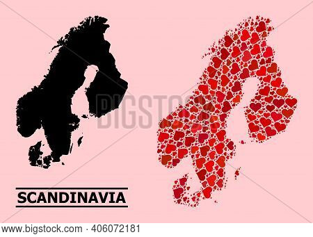 Love Pattern And Solid Map Of Scandinavia On A Pink Background. Collage Map Of Scandinavia Is Design