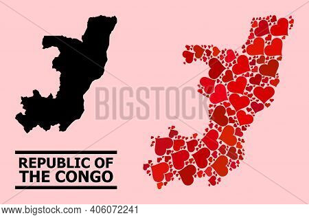 Love Collage And Solid Map Of Republic Of The Congo On A Pink Background. Collage Map Of Republic Of
