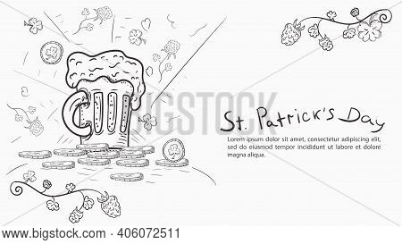 Contour Illustration Banner In The Style Of Childrens Doodle For The Design Of Designs On The Theme