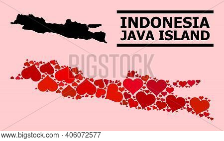 Love Mosaic And Solid Map Of Java Island On A Pink Background. Collage Map Of Java Island Is Compose