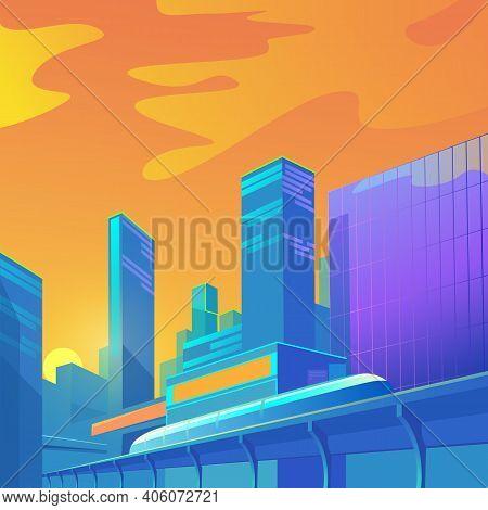 A Bright Contrasting Illustration Of The Urban Landscape. Shiny Skyscrapers Of A Futuristic Subway.