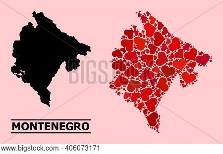 Love Mosaic And Solid Map Of Montenegro On A Pink Background. Collage Map Of Montenegro Is Created W
